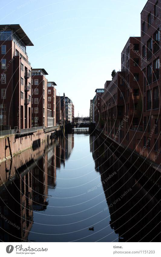 Badewanne Wasser Himmel Horizont Küste Fleet Kanal Hamburg Hafenstadt Stadtzentrum Haus Brücke Bauwerk Gebäude Architektur Mauer Wand Fassade Ente historisch