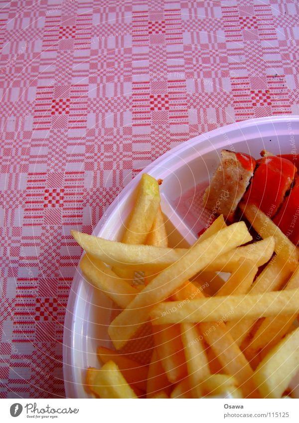 Mittagspause Deluxe Mahlzeit Fastfood Imbiss Pommes frites Currywurst Ketchup Ernährung Schnellimiss Tischwäsche