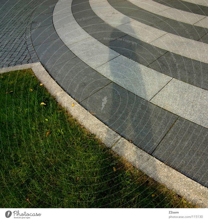 rounded grün weiß Stadt Straße Wiese dunkel Stein Stil Linie hell Wellen Schilder & Markierungen Kreis Bodenbelag rund Asphalt
