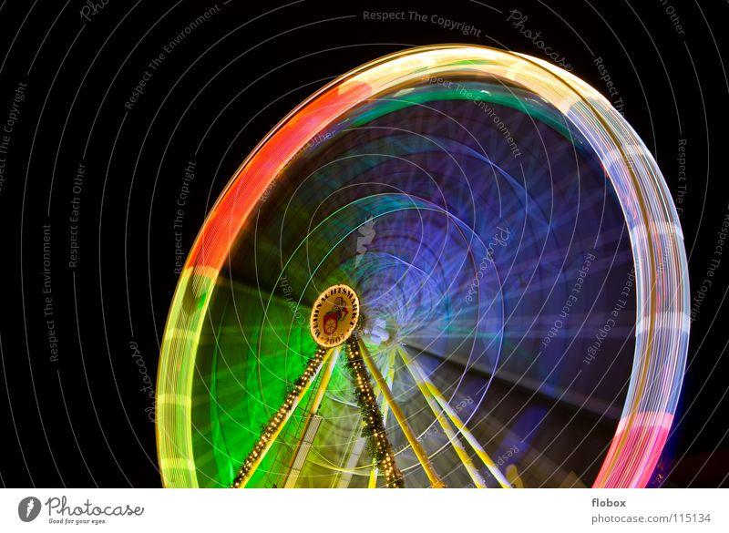 Ferris Wheel No. 2 Riesenrad Karussell drehen mehrfarbig Nacht Jahrmarkt Attraktion Wahrzeichen Weihnachtsmarkt Fahrgeschäfte Schausteller Stahl rund groß Licht