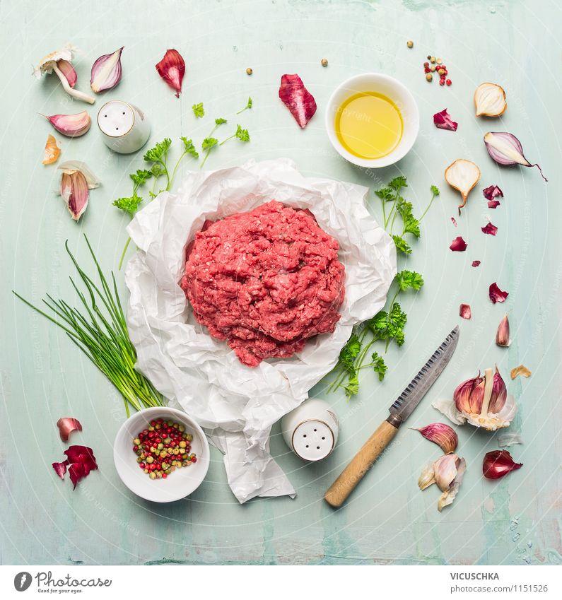 Hackfleisch mit Öl, Kräuter und Gewürzen Gesunde Ernährung Leben Stil Essen Hintergrundbild Foodfotografie Lebensmittel Design Tisch Kochen & Garen & Backen