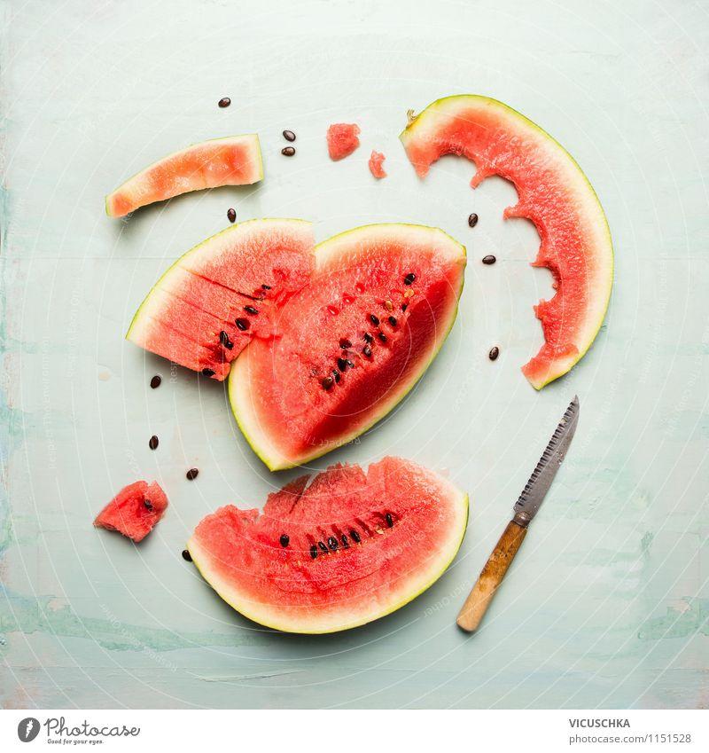 Wassermelone mit Messer Lebensmittel Frucht Dessert Ernährung Frühstück Bioprodukte Vegetarische Ernährung Diät Saft Stil Design Gesunde Ernährung Sommer Tisch