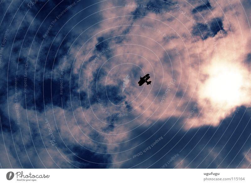 Biplane Abdeckung Himmel Luftverkehr biplane stunt plane sun clouds Silhouette sky up shadow