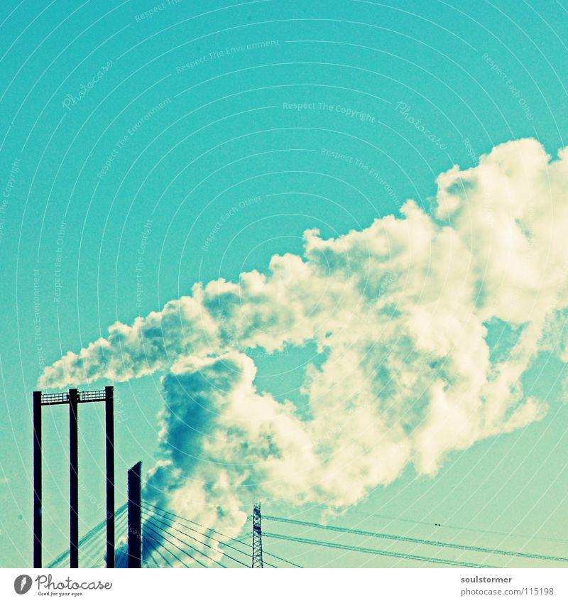Smoke Himmel blau weiß Wolken schwarz Tod Angst dreckig Klima Brücke Industrie Trauer heiß Alkoholisiert Verzweiflung Abgas