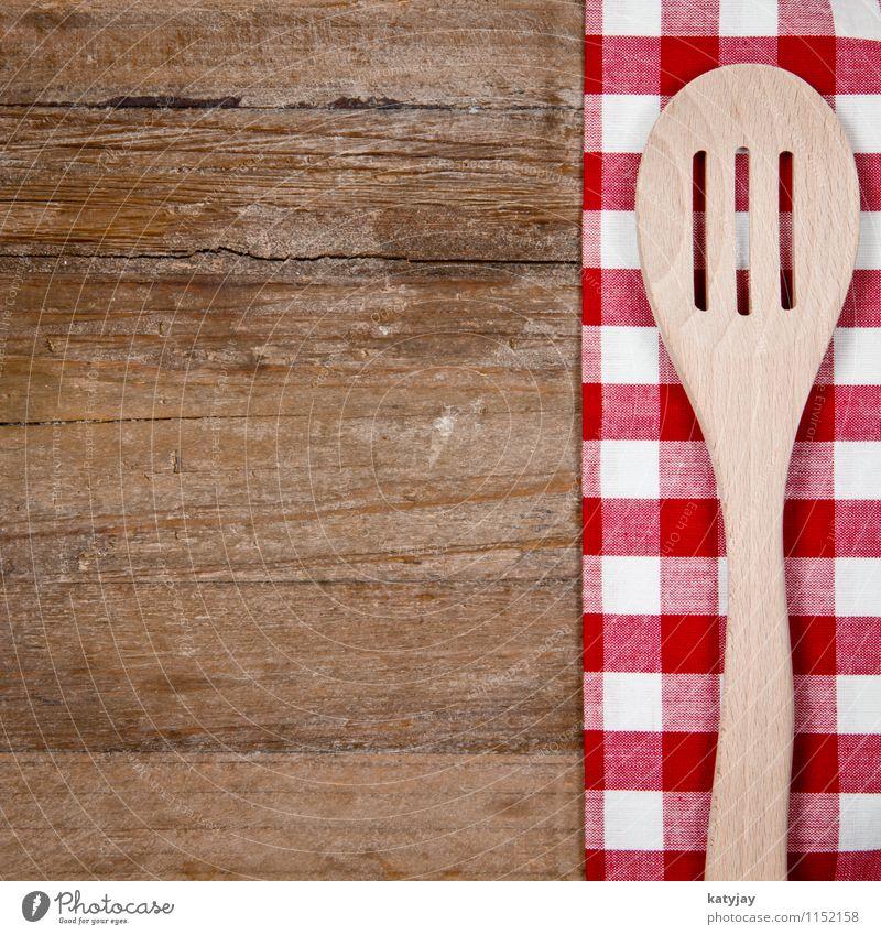 Kochlöffel alt weiß rot Speise Holz Hintergrundbild braun Lebensmittel Dekoration & Verzierung Tisch Kochen & Garen & Backen retro Küche Holzbrett Restaurant kariert