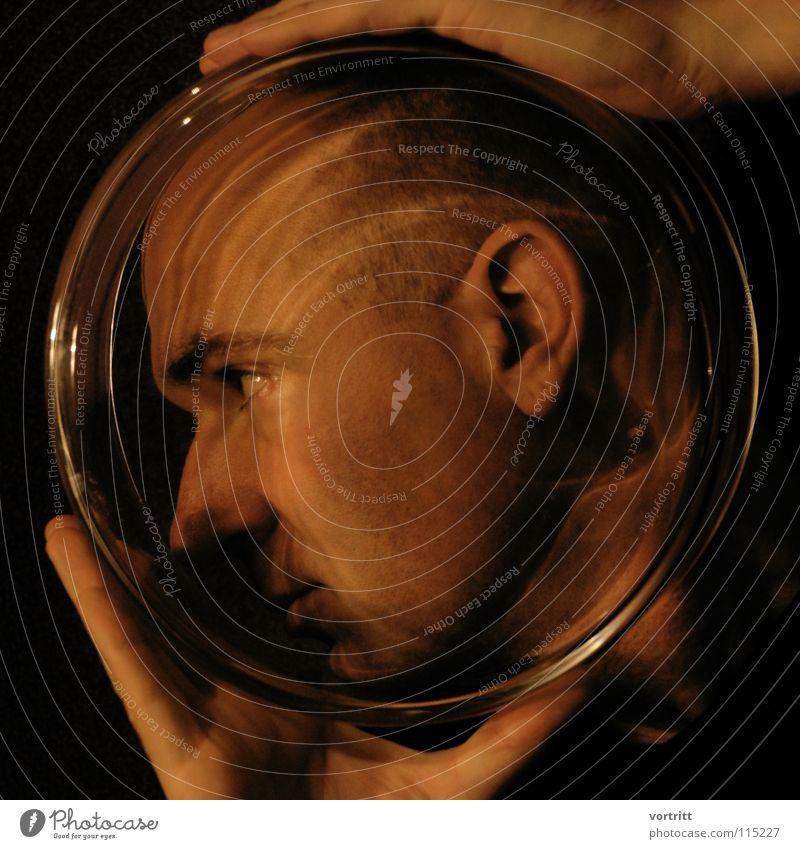 major tom Porträt Nahaufnahme Hand Finger Licht Kunstlicht gefangen Blumenvase Lichtspiel Stil Kunsthandwerk Glas hinten Ohr Auge Nase Reaktionen u. Effekte