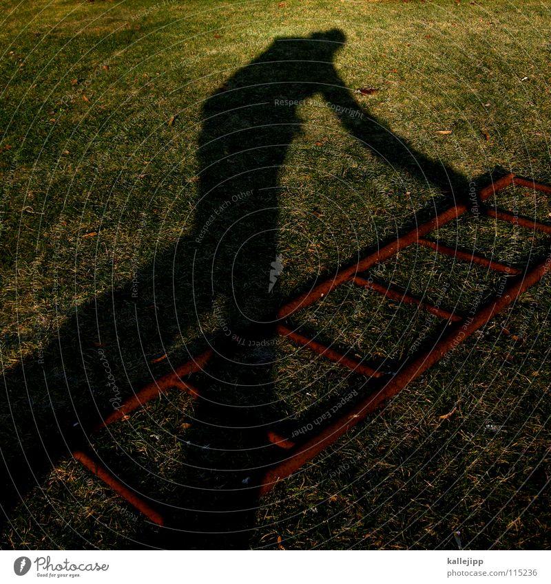schattenaufsteiger Mensch Mann grün Sonne Gras Garten träumen Arbeit & Erwerbstätigkeit Treppe Erfolg Rasen Leiter Surrealismus Sportveranstaltung Karriere aufsteigen