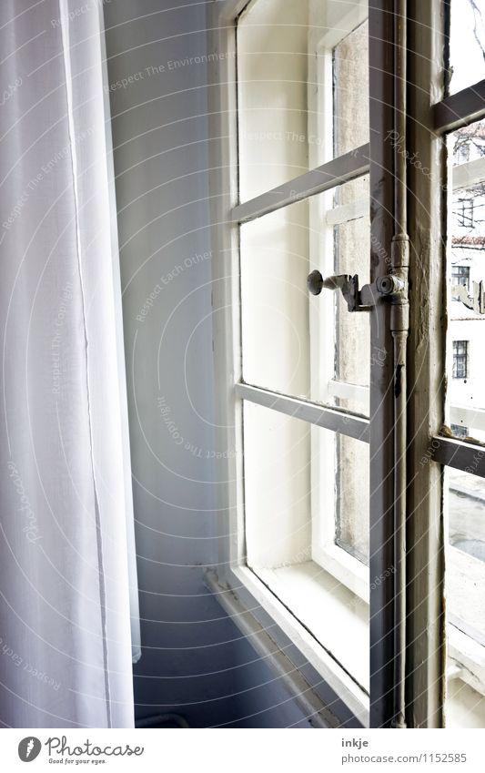 das Fenster zum Prager Hof alt hell Wohnung Raum Häusliches Leben geschlossen einfach historisch Fensterscheibe Nostalgie Gardine antik Fensterblick schließen