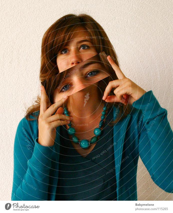 Augenblick Frau Mensch blau Gesicht Postkarte türkis Doppelbelichtung Kette Momentaufnahme