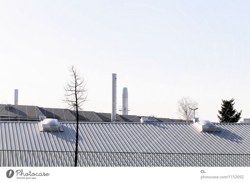 ebenen Umwelt Natur Wolkenloser Himmel Herbst Winter Klima Schönes Wetter Baum Menschenleer Industrieanlage Fabrik Gebäude Dach Schornstein Umweltverschmutzung