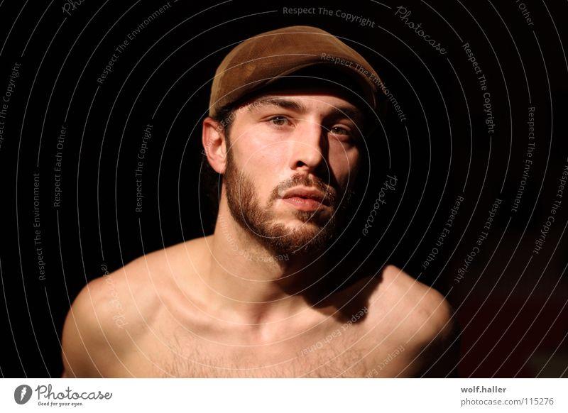 Hallo..... Mann schön Gesicht Mund braun Bart Mütze