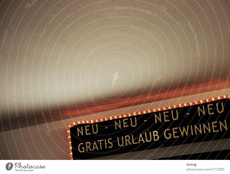 NEU · NEU · NEU · NEU Ferien & Urlaub & Reisen Leuchtreklame Gewinnspiel Text Lateinische Schrift Großbuchstabe Textfreiraum oben kostenlos Werbeschild