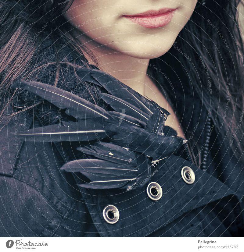 Zwischenhalt nach Süden Frau Winter ruhig schwarz dunkel kalt Mund Vogel rosa fliegen sanft Kinn Schwalben Zugvogel