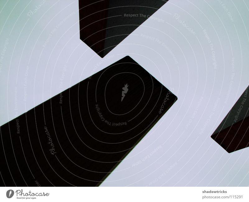 Kontrast Himmel weiß schwarz dunkel grau hell Architektur Beton Teile u. Stücke Grafik u. Illustration Gewicht Geometrie zyan Block schwer magenta
