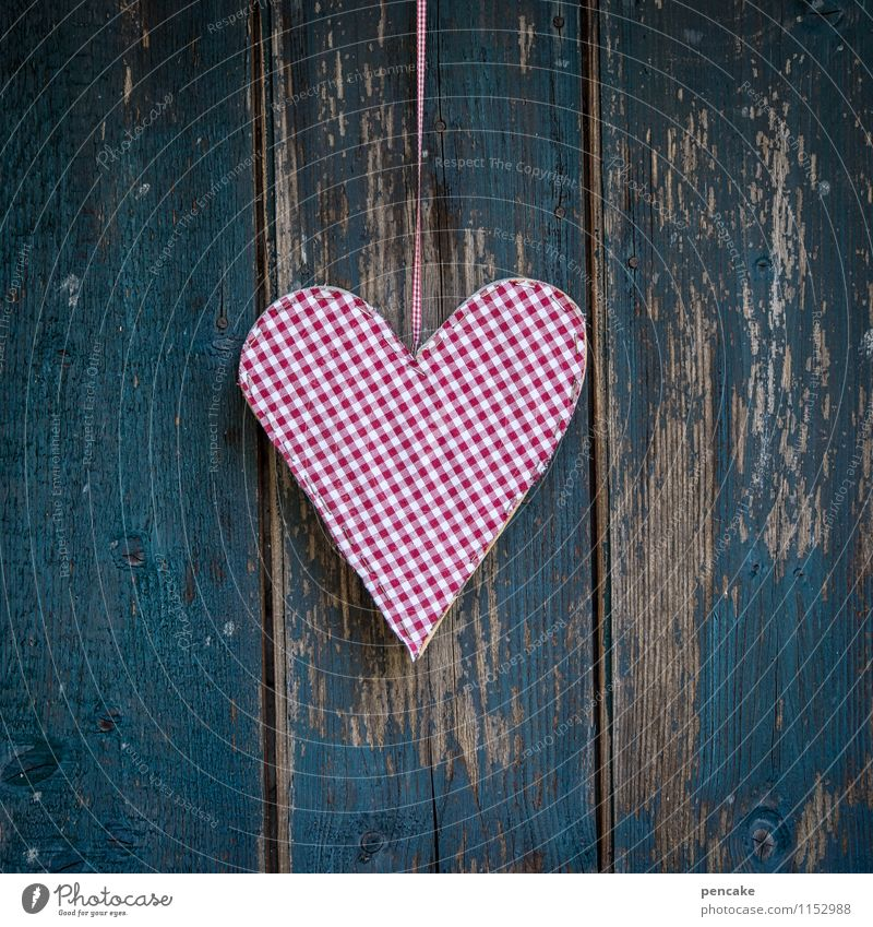 herz oder karo Zeichen Design Liebe Herz Muttertag Valentinstag Hüttenferien kariert Dekoration & Verzierung retro Holzfassade blau rot verwittert Maserung