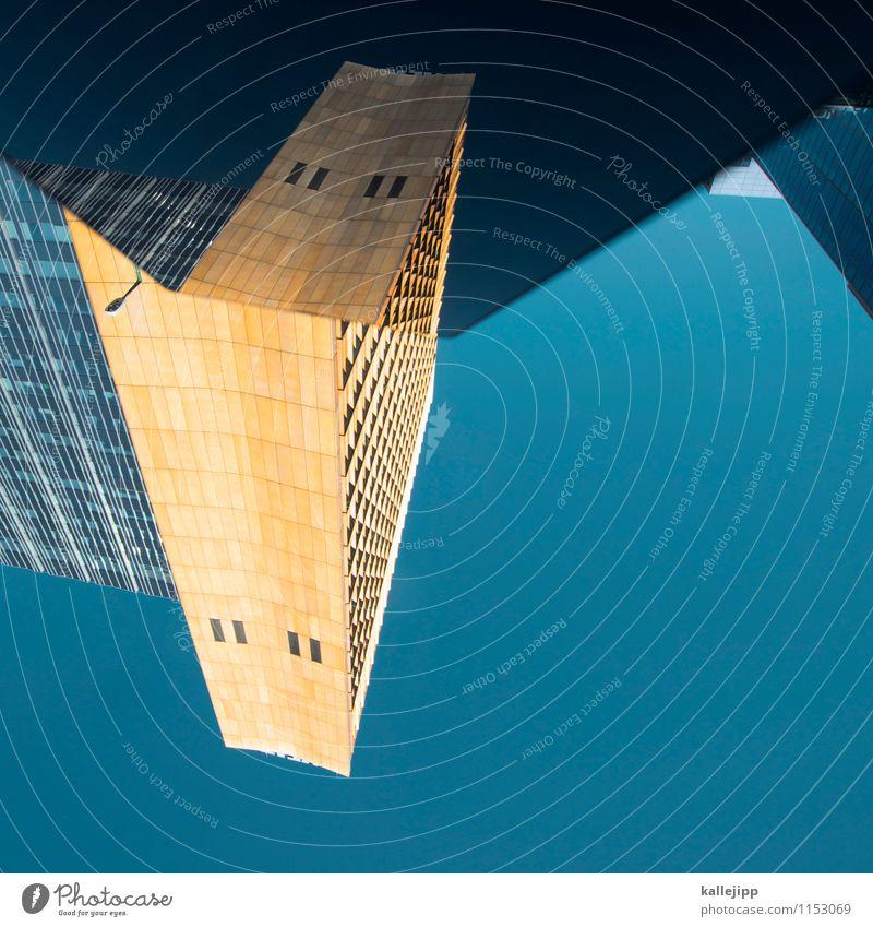 bumblebee Stadt Hauptstadt Haus Hochhaus Bauwerk Gebäude Architektur Mauer Wand Fassade Fenster blau gelb gold Reflexion & Spiegelung Raumfahrzeuge Futurismus
