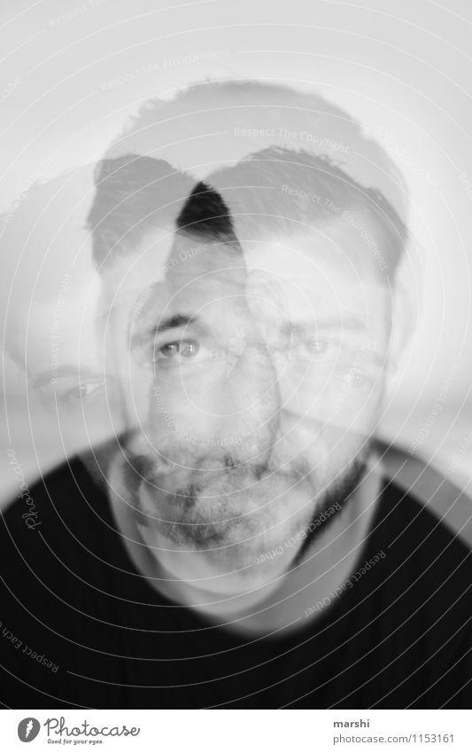 Schattendasein Mensch Jugendliche Mann Junger Mann Gesicht Erwachsene Gefühle Kopf Stimmung maskulin Freizeit & Hobby Doppelbelichtung Blick 30-45 Jahre Schizophrenie Krankheit