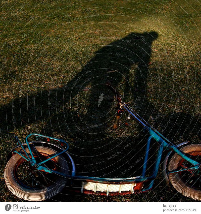 schattenroller Mensch Mann grün Freude Spielen Gras Garten träumen Fahrrad Rasen Spielzeug Surrealismus Nostalgie Sportveranstaltung wirklich Rolle