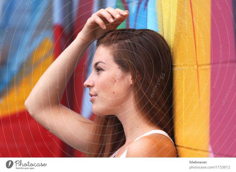 Mensch Frau schön weiß Erholung Einsamkeit Erotik Mädchen Erwachsene Gesicht Stil Mode träumen Behaarung elegant Arme