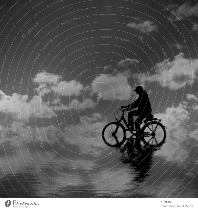 Wasserrad Himmel Meer Wolken Einsamkeit Ferne Fahrrad Horizont Unendlichkeit Reflexion & Spiegelung