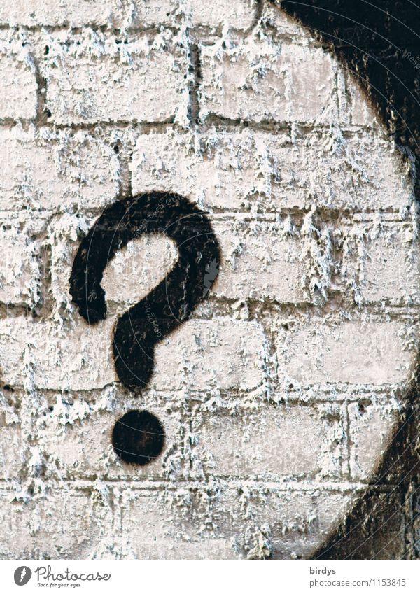 das frag ich mich auch Mauer Wand Backsteinwand Zeichen Graffiti Fragezeichen außergewöhnlich schwarz weiß Unglaube Design einzigartig Kommunizieren Fragen
