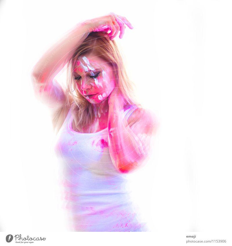 UV V feminin Junge Frau Jugendliche Körper 1 Mensch 18-30 Jahre Erwachsene sportlich außergewöhnlich UV-Strahlung Körpermalerei Farbfoto Innenaufnahme