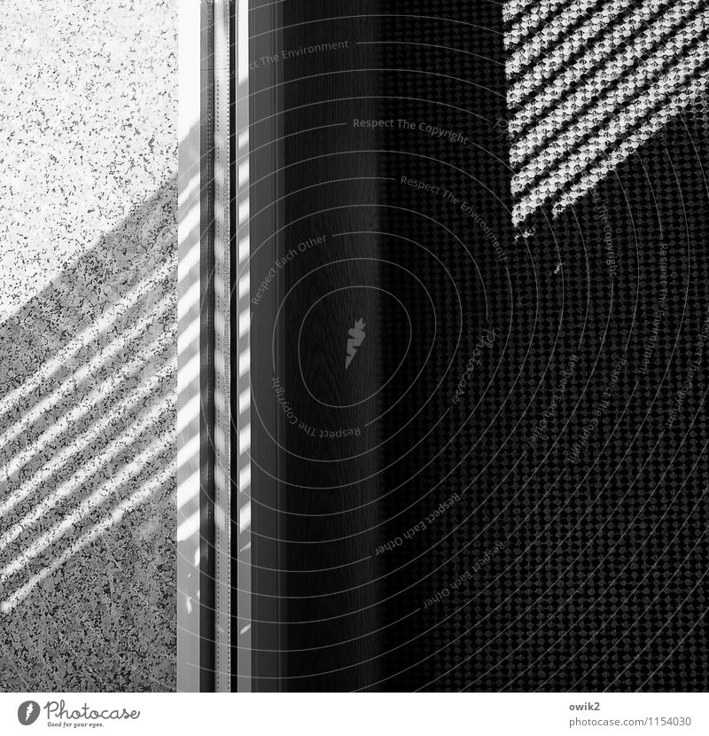 Vicino Schatten Schattenspiel Teppich Glasscheibe Fensterbrett Linie diagonal Stein unten Gefühle Schwarzweißfoto Innenaufnahme Nahaufnahme Detailaufnahme