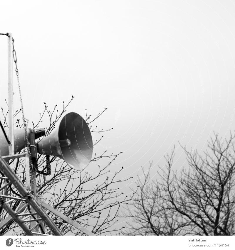 Döp döp döp dödö döp döp döp... Lautsprecher Technik & Technologie Telekommunikation Megaphon Kommunizieren grau schwarz weiß Stimmung Sport Ziel Beschallung