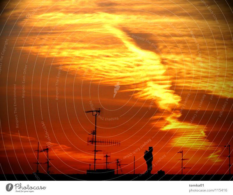 AUF SENDUNG | rot gelb Wolken Sonnenuntergang Licht Abend Dach Antenne Schornsteinfeger Mann Mondsüchtig Außenaufnahme Himmel Strukturen & Formen Abenddämmerung