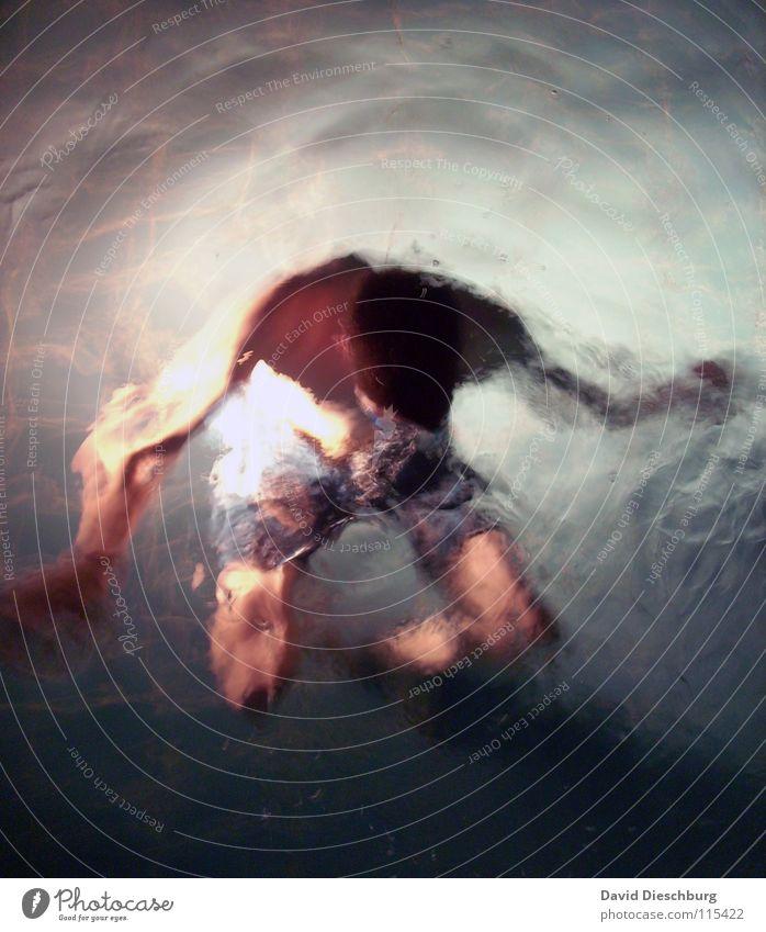 Engefroren Schwimmen & Baden tauchen Wasseroberfläche Wasserwirbel Textfreiraum oben Vogelperspektive 1 Mensch einzeln Unschärfe unkenntlich unerkannt anonym