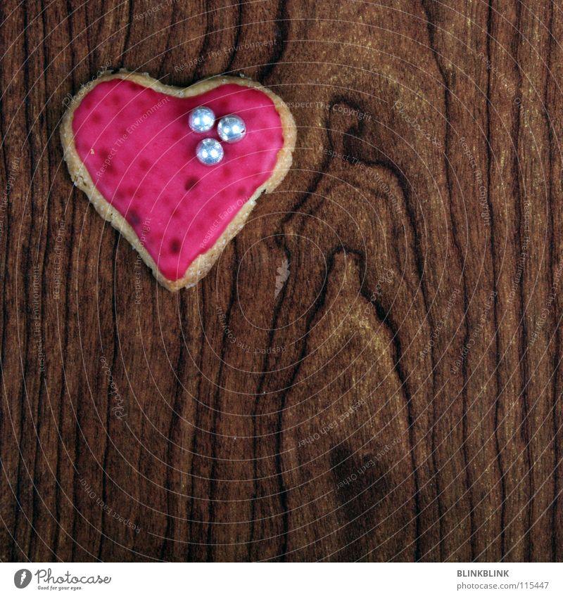 herz massif rot Liebe Holz Feste & Feiern braun rosa Tisch Herz Kochen & Garen & Backen niedlich süß Romantik lecker Backwaren silber Zucker