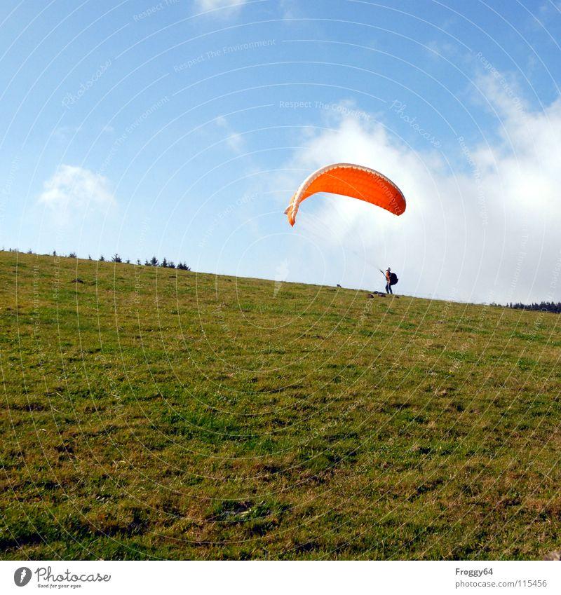 Akai in Action Baum grün Freude Wolken Farbe Wiese Gras orange Horizont Beginn Romantik Konzentration Gleitschirmfliegen himmelblau Kumulus Funsport