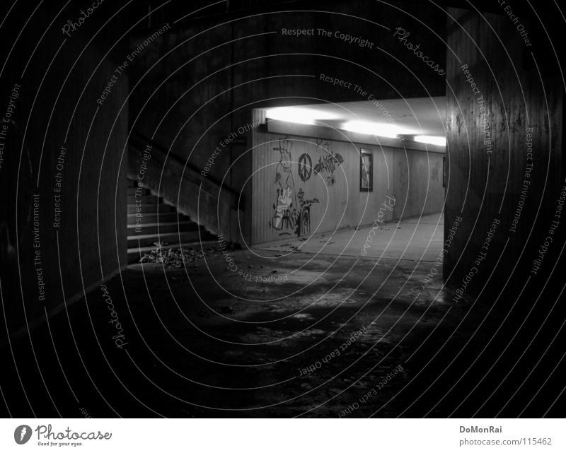 Flucht nach oben! Schwarzweißfoto Außenaufnahme Menschenleer Textfreiraum oben Textfreiraum unten Nacht Kunstlicht Langzeitbelichtung Zentralperspektive Regen