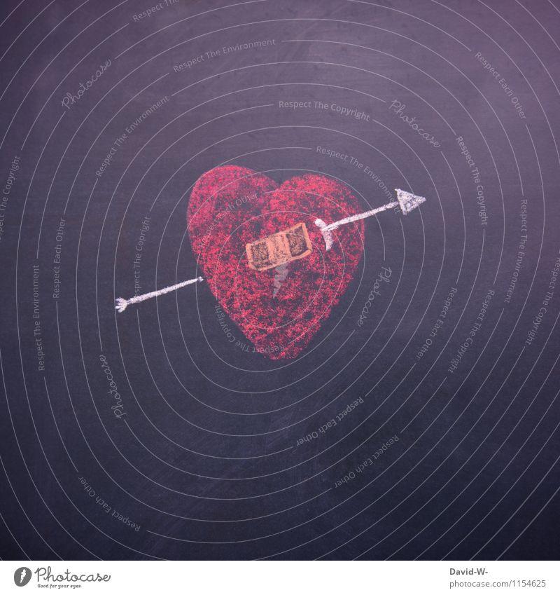 Herzschmerz Mensch rot Leben Liebe Gefühle Gesundheit Paar Romantik Vertrauen Leidenschaft Verliebtheit Pfeile Tafel Trennung Zeichnung