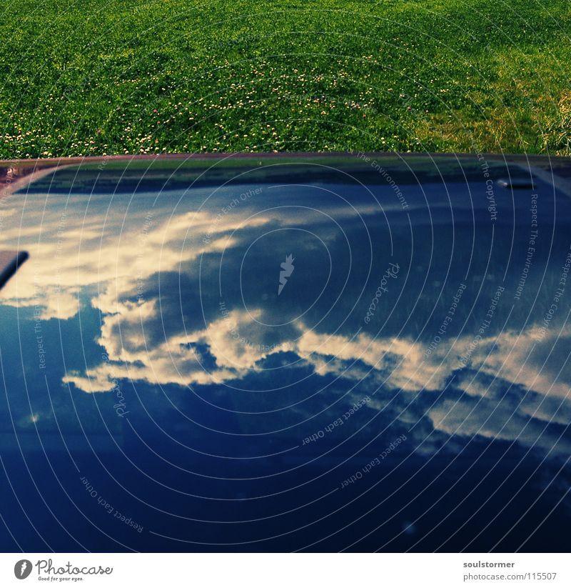 verkehrte Welt zur 200!!! schön Himmel grün blau Freude Wolken Wiese Gras PKW Glas Rasen obskur Fensterscheibe Surrealismus Jubiläum