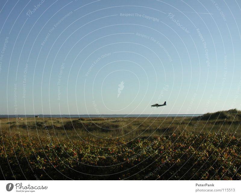 coming down Himmel Wasser blau grün Pflanze Meer Strand ruhig Gras Küste Luft klein fliegen Flugzeug Verkehr Insel