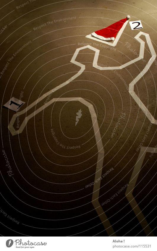 Stocky Claus? Totschlag Weihnachtsmann Tatort Motivation Beweis Zeuge Hintergrundbild Leiche Mütze Silhouette Trauer Abschied Rettung Sicherheit verlieren Angst