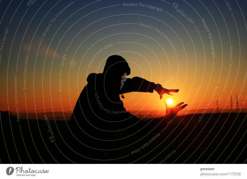 Sunset Silhouette Himmel Mann Natur blau Sonne Ferien & Urlaub & Reisen Freude Winter schwarz Einsamkeit Landschaft Freiheit orange Zufriedenheit Verlauf