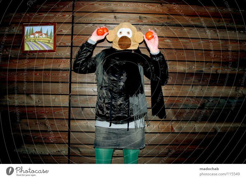 four THE OBJECTS Frau Mensch Hand Freude Tier Einsamkeit Haus Ferne feminin kalt Wand Holz Gebäude Traurigkeit lustig Feste & Feiern