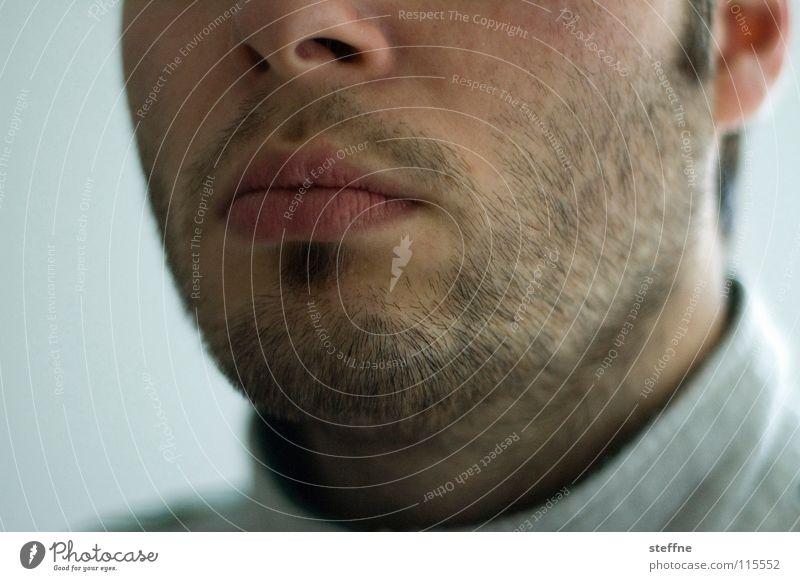 Der liebe Junge V Mann Kerl gehorsam böse erstaunt Überraschung Selbstportrait Bart lässig Lippen gestört ernst Seele Gefühle Schwäche Self Gesicht Mund Nase