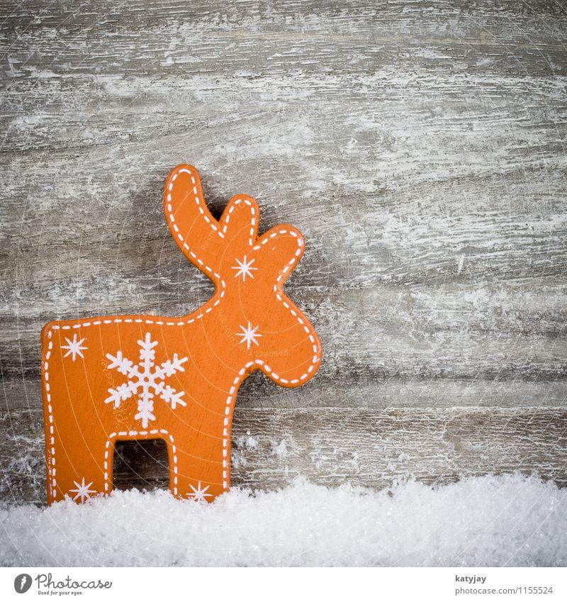 Rentier Weihnachten & Advent Winter Schnee Holz Hintergrundbild Dekoration & Verzierung Fröhlichkeit Geschenk Stern (Symbol) Postkarte Rahmen festlich schenken