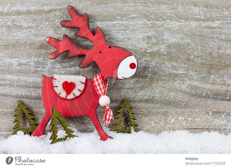 Rentier Weihnachten & Advent Winter Schnee Holz Hintergrundbild Schneefall Dekoration & Verzierung Fröhlichkeit Geschenk Stern (Symbol) Postkarte Rahmen
