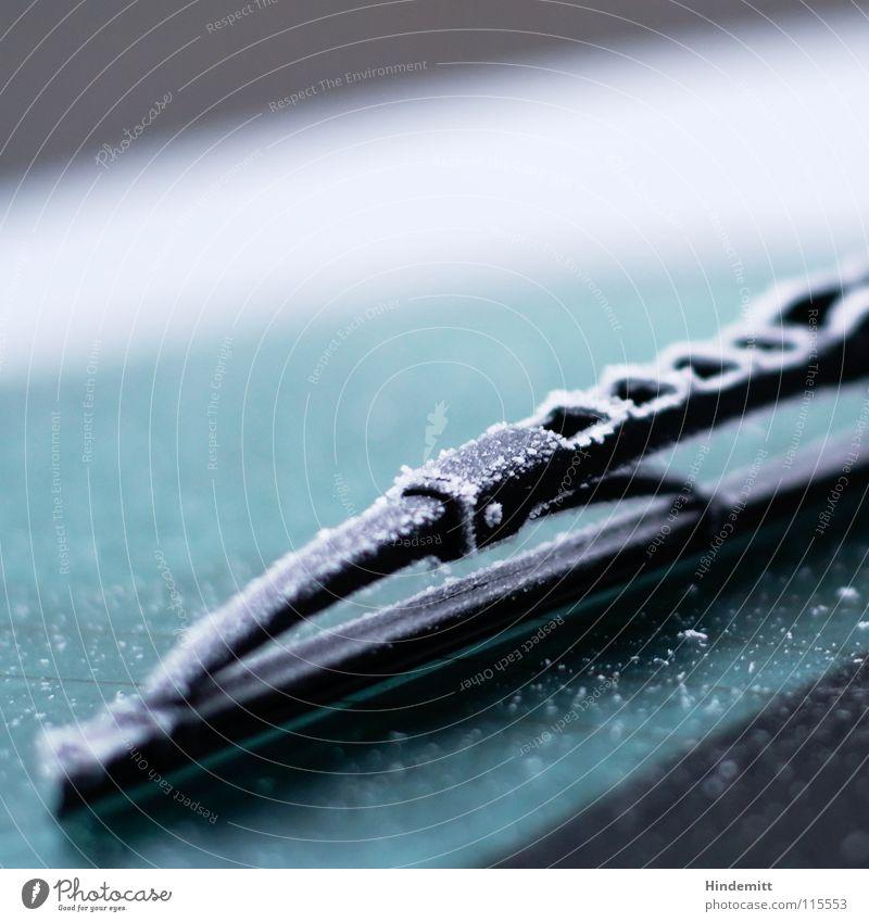 Heckscheibenwasserentsorgungsfachkraft [an einem Not-My-Job-Day] grün weiß ruhig Winter schwarz kalt Straße Metall PKW Verkehr frei Coolness Pause Frost