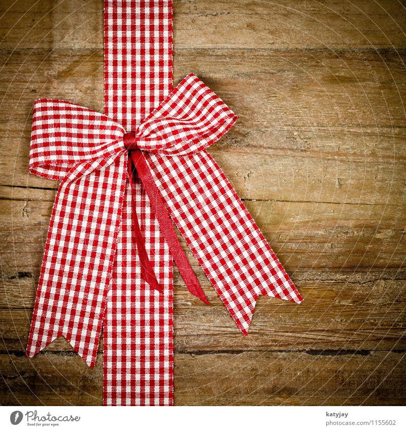 rote Schleife Weihnachten & Advent Freude Holz Geburtstag Geschenk Schnur Postkarte Überraschung Holzbrett kariert Valentinstag schenken rustikal Muttertag