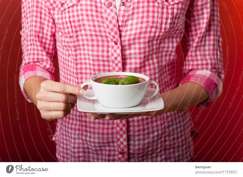Soup, my dear Mensch Jugendliche rot Hand 18-30 Jahre Erwachsene feminin Lebensmittel frisch authentisch Kräuter & Gewürze festhalten Gemüse lecker gut Hemd