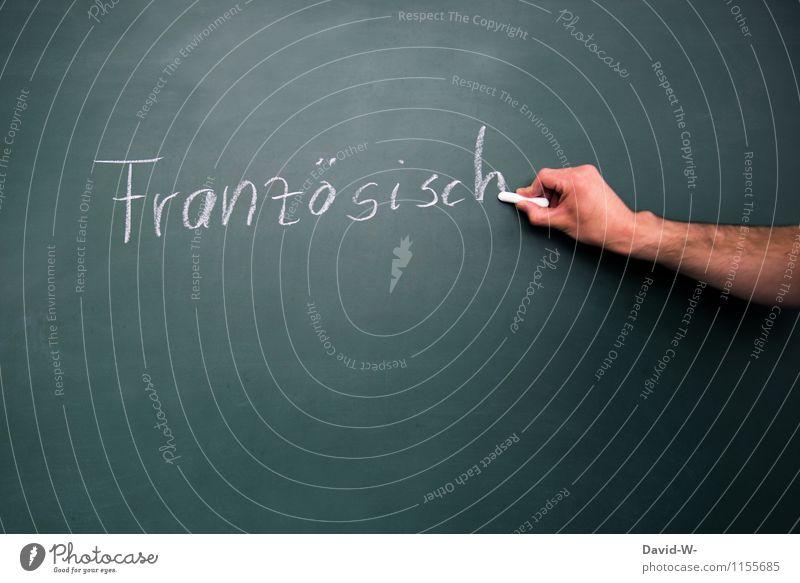 Französisch Design Bildung Schule lernen Klassenraum Tafel Schulkind Schüler Lehrer Mensch Kindheit Jugendliche Hand schreiben Leistung üben Fremdsprache