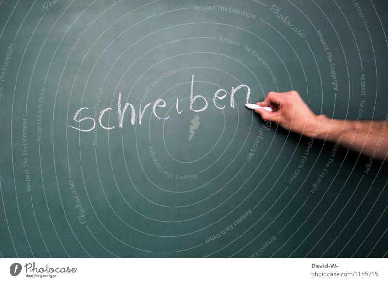 schreiben Mensch Kind Hand Leben Schule Deutschland maskulin Schriftzeichen lernen Bildung Schüler Wort Tafel Werbebranche Kreide