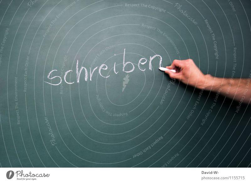 schreiben Mensch Kind Hand Leben Schule Deutschland maskulin Schriftzeichen lernen Bildung schreiben Schüler Wort Tafel Werbebranche Kreide