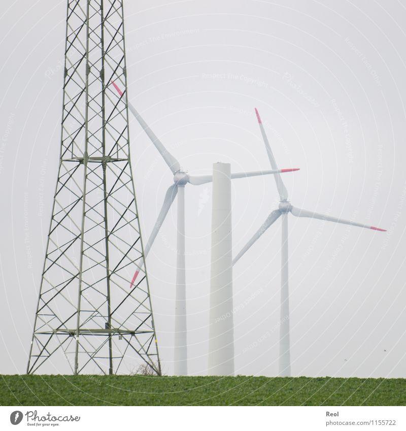 Energiewende grün weiß Landschaft Wiese Energiewirtschaft Feld modern Wind Elektrizität Zukunft Turm Wandel & Veränderung Baustelle neu Windkraftanlage Stahl