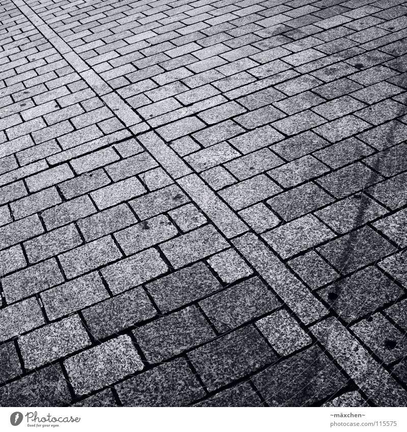 Pflasterstein schwarz weiß diagonal Quadrat Rechteck Verlauf zweiteilig fahren gehen Schwarzweißfoto Verkehr Verkehrswege Kopfsteinpflaster Stein black white